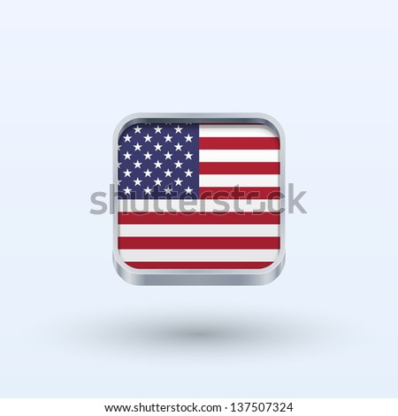 United States flag icon square form on gray background. Vector illustration. - stock vector