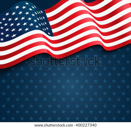 United States flag.  USA Independence Day background. Fourth of July celebrate. - stock vector