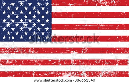 United States Flag Vector. Grungy, worn, scratched style - stock vector