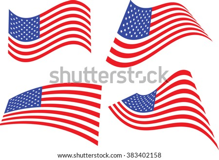 United States Flag Waving 4 Different Images - stock vector