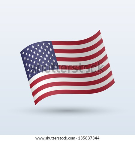 United States flag waving form on gray background. Vector illustration. - stock vector