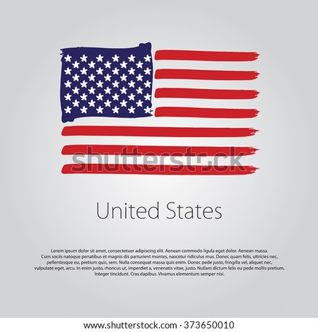 United States Flag with colored hand drawn lines in Vector Format - stock vector