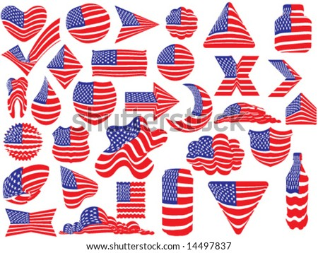 United States flags different forms - vector illustration - stock vector