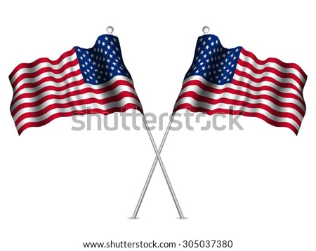 United States flags waving. Vector illustration.