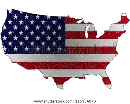 united states grunge map and flag against white background, abstract vector art illustration - stock vector