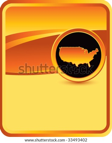 united states icon on orange background