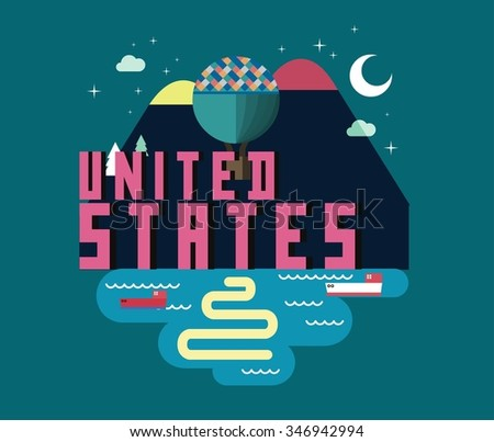 United States is a beautiful country to visit. vintage vector illustration.