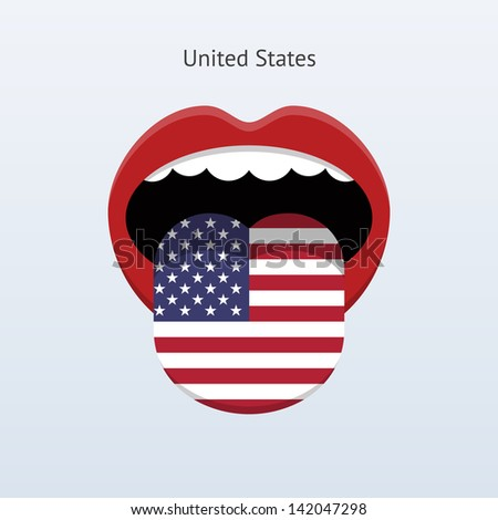 United States language. Abstract human mouth. Vector illustration. - stock vector