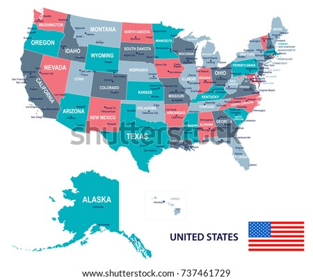 United States Map Flag Vector Illustration Stock Vector - United states map ohio