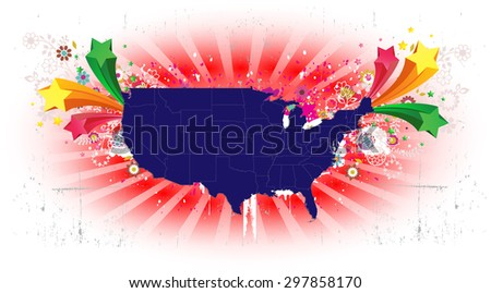 United States Map - Bursting Background - stock vector