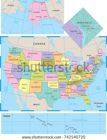 Colorful Usa Map States Capital Cities Stock Vector - Us map detailed