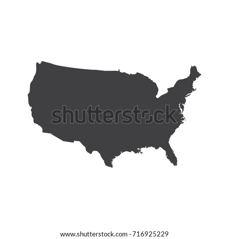 United States Map Flat Vector Logo Stock Vector - Us map logo