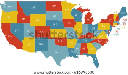 United States Map Labeled Postal Abbreviations Stock Vector HD