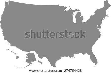 United States map outlines in grey color, vector map of US with a good composition - stock vector