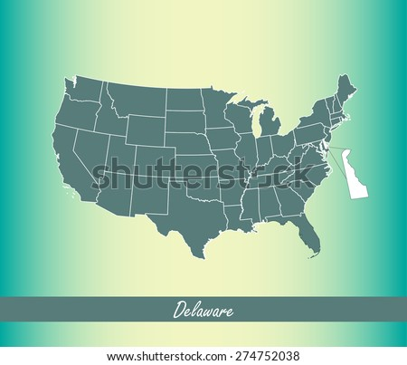 United States map outlines with highlighted State of Delaware in an abstract design for web page template or construction, vector map of US on an old paper background - stock vector