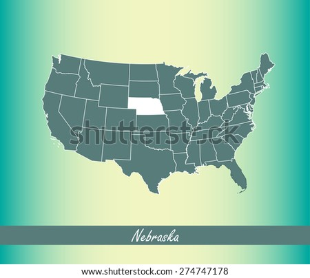 United States map outlines with highlighted State of Nebraska in an abstract design for web page template or construction, vector map of USA on an old paper background - stock vector