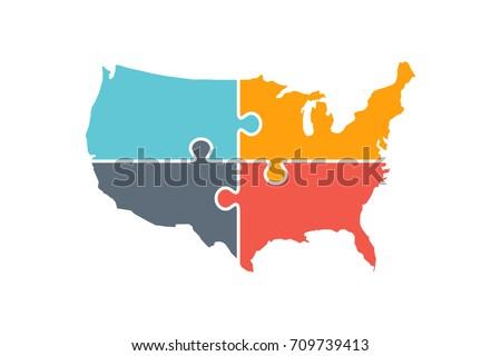 United States Map Rebuild Logo Illustration Stock Vector - Us map logo