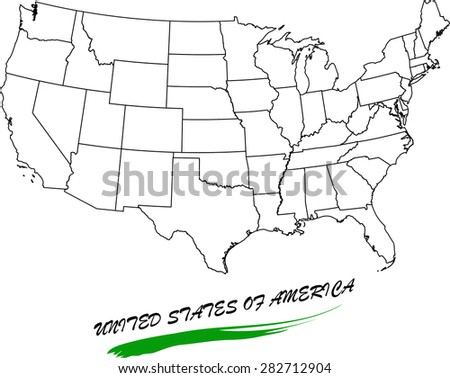 United States map vector in black and white background, USA map outlines in a new creative design - stock vector