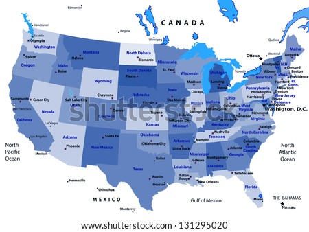 United States map vector. States and capital cities - stock vector