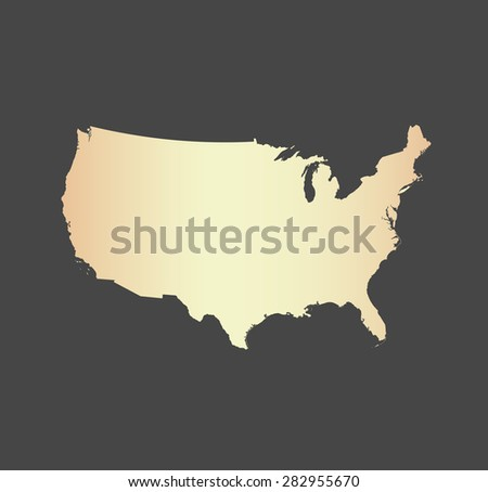 United States map vector, USA map outlines in a new contrasted design with a gradient of light color and a grey background - stock vector