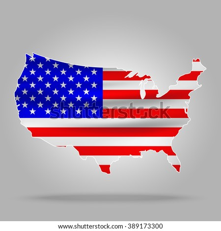 United States map with American Flag style on a gray background. - stock vector