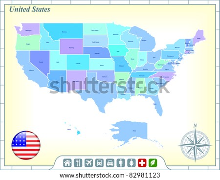 United States Map with Flag Buttons and Assistance & Activates Icons Original Illustration - stock vector