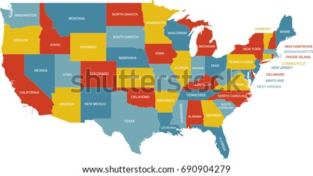 United States Map State Labels Stock Vector 690904279 Shutterstock
