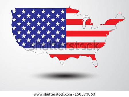 United states map with the flag inside vector images