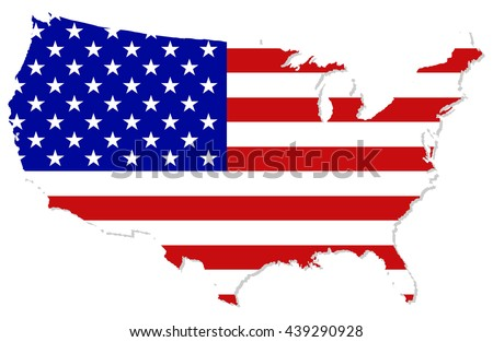 United states map with usa flag inside. - stock vector
