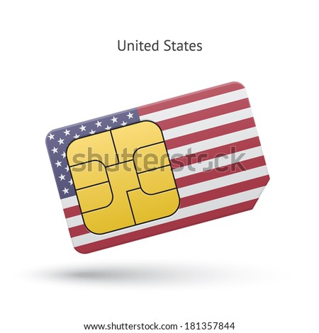 United States mobile phone sim card with flag. Vector illustration. - stock vector