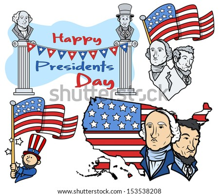 United States National Holidays - Presidents Day Vector Set