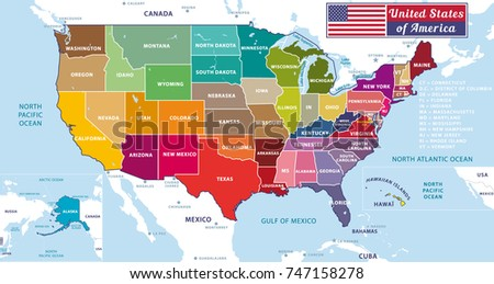 Highly Detailed Map United States Cities Stock Vector - United states map with oceans
