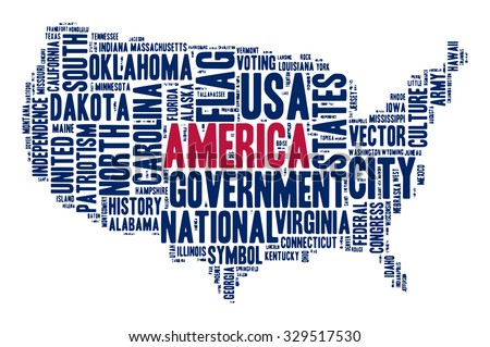 United States of America. Cloud of words in contour of America. Vector illustration. Colors of American flag - blue and red. Word of various sizes about government, politics,  and American symbols.