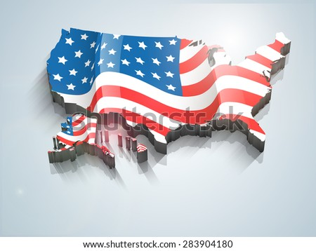 United States of America 3D map covered by national flag for 4th of July, Independence Day celebrations - stock vector