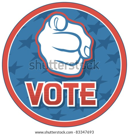 United States of America Elections pins (badge, design, hand pointing) - stock vector