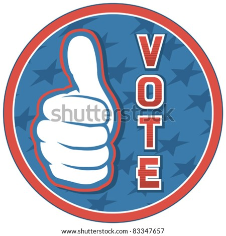 United States of America Elections pins (badge, design, hand showing thumbs up)