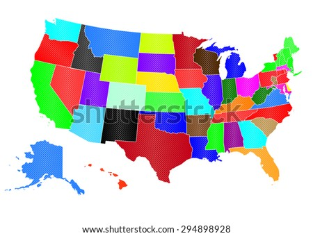 United States of America - Every State Separable by Border - stock vector