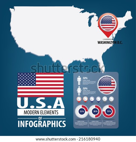 United States of America. flag. - stock vector