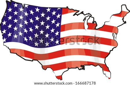 united states of america - flag and map - stock vector