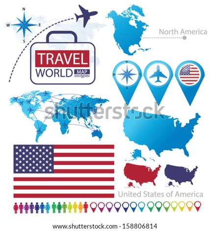 United States of America. flag. North america. World Map. Travel vector Illustration. - stock vector