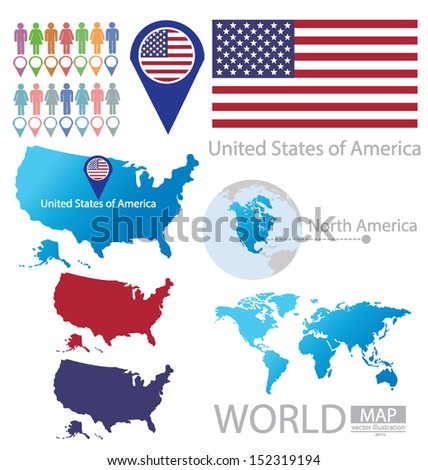 United States of America. flag. North america. World Map. vector Illustration. - stock vector