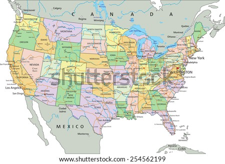 United States America Highly Detailed Editable Stock Vector ...