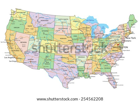 United States America Highly Detailed Editable Stock Vector - The us map labeled
