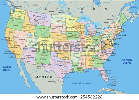 United States America Highly Detailed Editable Stock Vector - Pacific ocean on us map