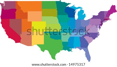 Colored Map United States America Split Stock Vector - Map of united state of america