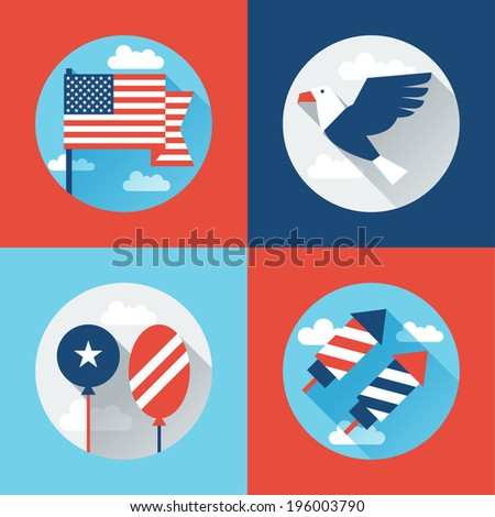 United States of America Independence Day greeting card. - stock vector