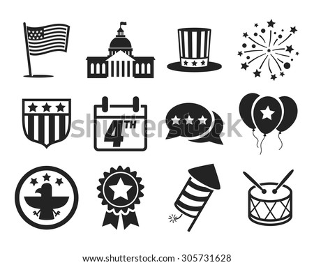United States of America Independence Day icon set // 4 July // Black & White - stock vector