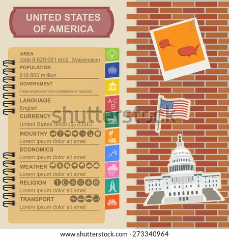 United States of America infographics, statistical data, sights. Vector illustration - stock vector
