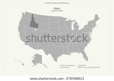 United States America Isolated Map Idaho Stock Vector 378588823
