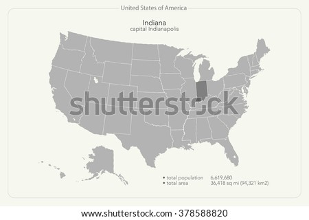United States of America isolated map and Indiana State territory. vector USA political map. geographic banner template - stock vector